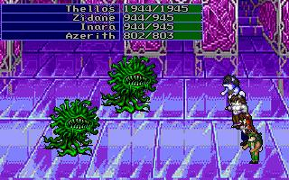 A battle in the final area with several of the game's hidden characters.